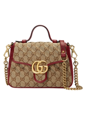 Gucci - Gg Marmont 2.0 Top Handle Bag Red/ Beige - Women