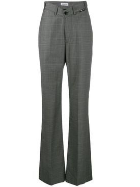 V-neck check trousers