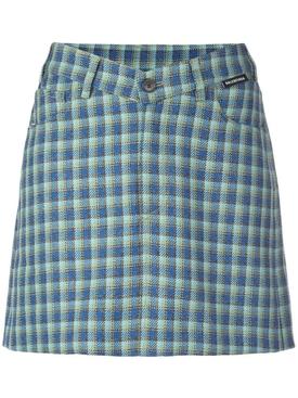 v-shaped waist checked skirt
