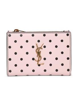 Pink Polka Dot Zip Wallet