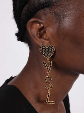 Gold-tone Heart logo drop earrings