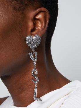 silver tone heart logo drop earrings