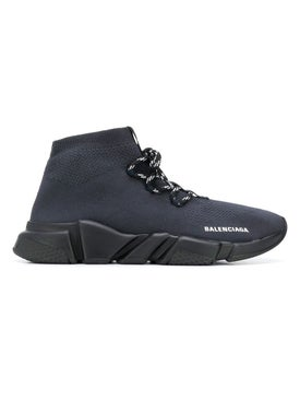 Balenciaga - Steel Blue Speed Lace Up Sneakers - High Tops