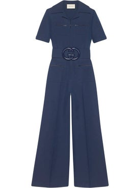 Gucci - Wool Silk Belted Jumpsuit - Jumpsuits
