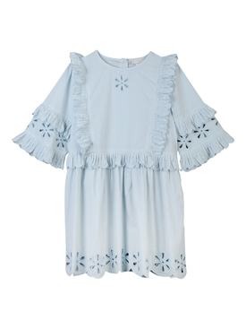Kids Blue Broderie Anglais Dress
