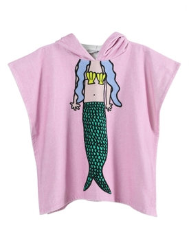 Kids Pink Mermaid Hooded Towel Poncho