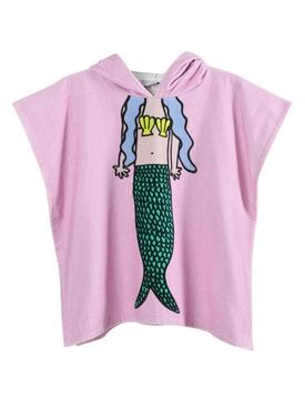 Kids Pink Mermaid Hooded Towel Poncho