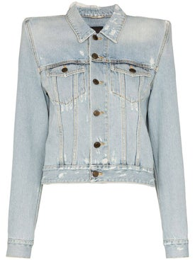 Saint Laurent - Exaggerated Shoulder Denim Jacket - Women