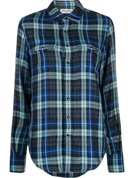 Blue check print shirt
