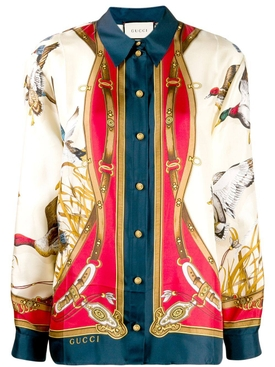 multicolored bird print shirt