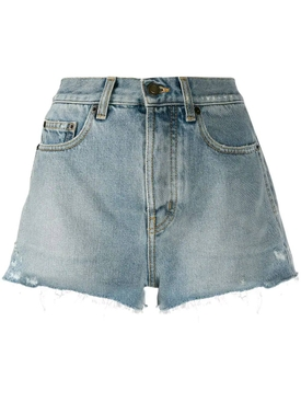 raw slim fit denim shorts