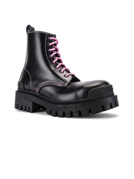 Black leather strike boot