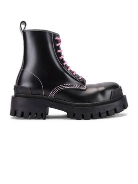 Black leather strike boot