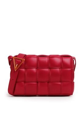 LEATHER PADDED CASSETTE SHOULDER BAG Dark Red