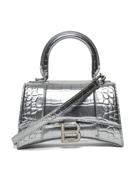Hourglass Top Handle Bag, Silver
