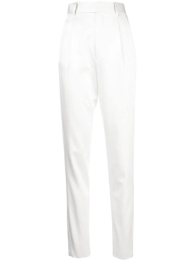 White high-waisted trousers