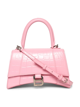 Small Croco Embossed Hourglass Handbag PINK