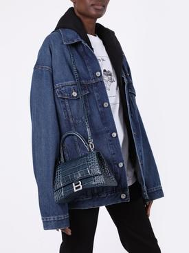 Denim Blue Hourglass Small Top Handle Bag