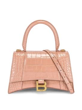 Small Hourglass Top Handle Bag Nude
