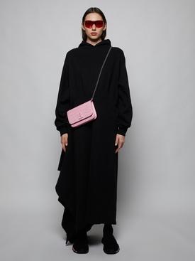 Croc-embossed wallet on chain, bubblegum pink