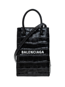 Black crocodile-embossed phone handbag