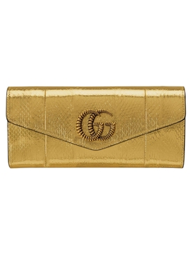 Metallic broadway snakeskin clutch bag GOLD