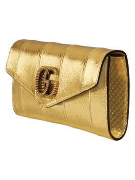 Metallic broadway snakeskin clutch bag GOLD