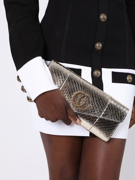Metallic broadway snakeskin clutch bag SILVER