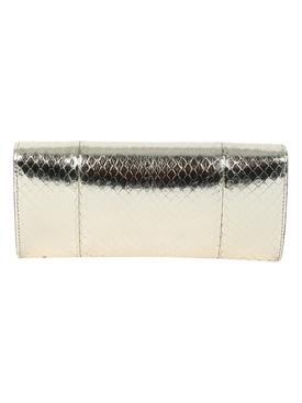 Metallic broadway snakeskin clutch bag SILVER