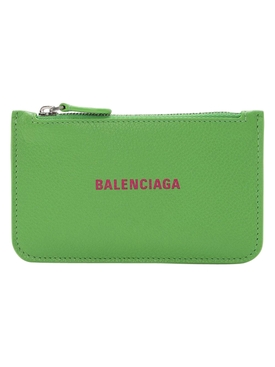 Bright green leather logo card holder