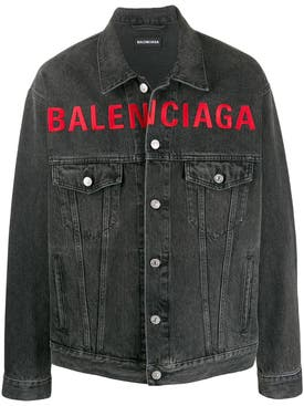 Balenciaga - Washed Grey Logo Denim Jacket - Men