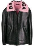 Balenciaga - Contrast Collar Leather Jacket - Women