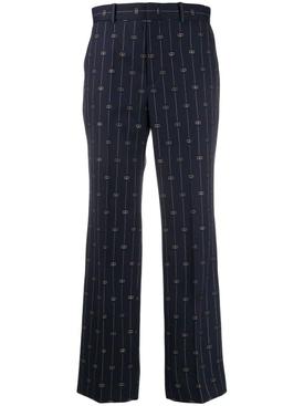 navy wool logo pants