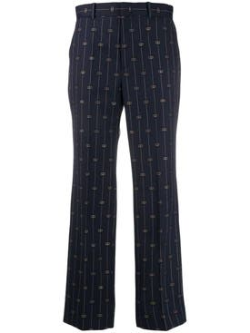 Gucci - Navy Wool Logo Pants - Women