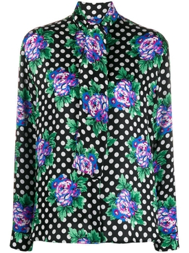 Floral polka dot blouse