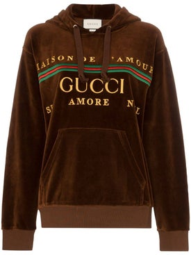 Gucci - Velvet Embroidered Logo Hoodie Brown - Women