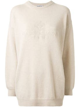 Balenciaga - Off-white Embroidered Logo Sweater - Women