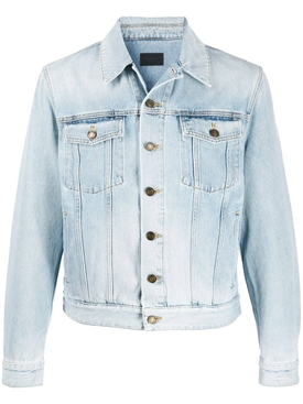 Washed light blue denim jacket