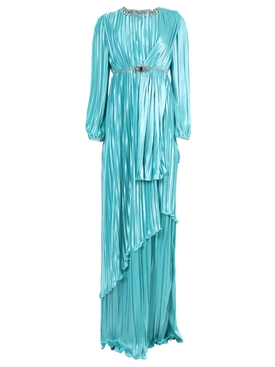 Embellished Turquoise Pleated Evening Gown