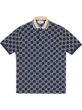 GG logo print polo shirt INCHIOSTRO/IVORY