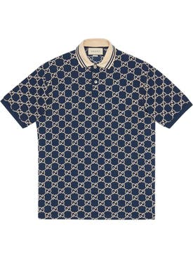 Gucci - Gg Logo Print Polo Shirt Inchiostro/ivory - Men