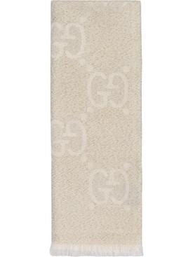wool metallic jacquard scarf ivory