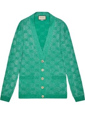 Green Sparkle Logo Print Cardigan