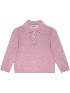 Gucci - Pink Sparkle Logo Print Polo Top - Women