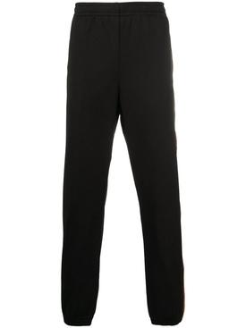 Black Mesh GG Logo Jogger Pants