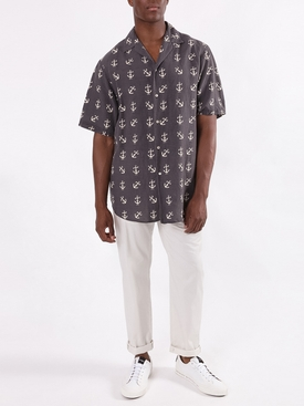 Navy and Ivory Anchor Bowling Button-Down Shirt