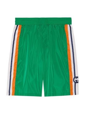 Interlocking G Side Stripe Swim Trunks Green