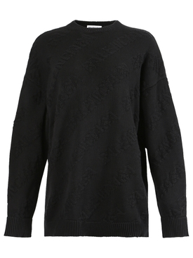 Tonal Logo Pullover Sweater Black
