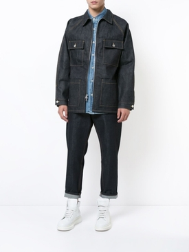 RAW SELVEDGE DENIM LONG JACKET BLUE