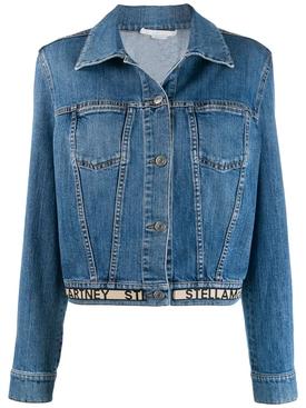 logo hem denim jacket